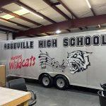Abbeville High School Trailer inside of garage