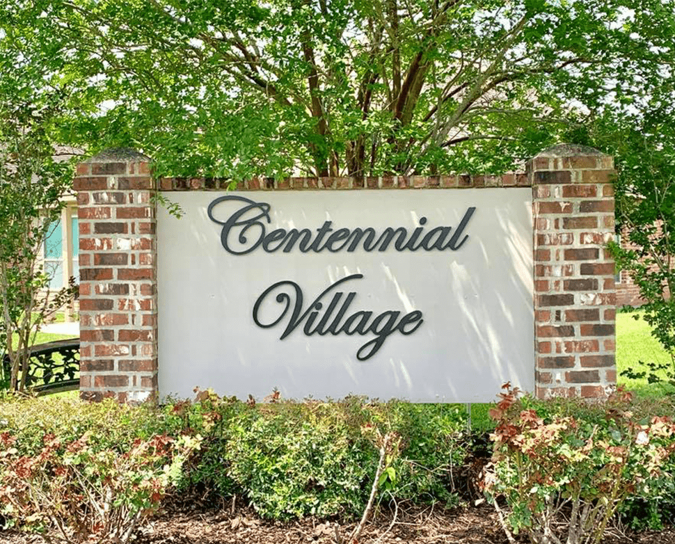 centennial village neighborhood entrance sign