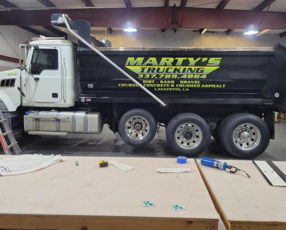 martys trucking on big work truck
