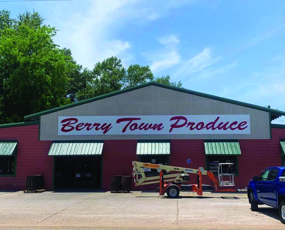 berry town product signage installation